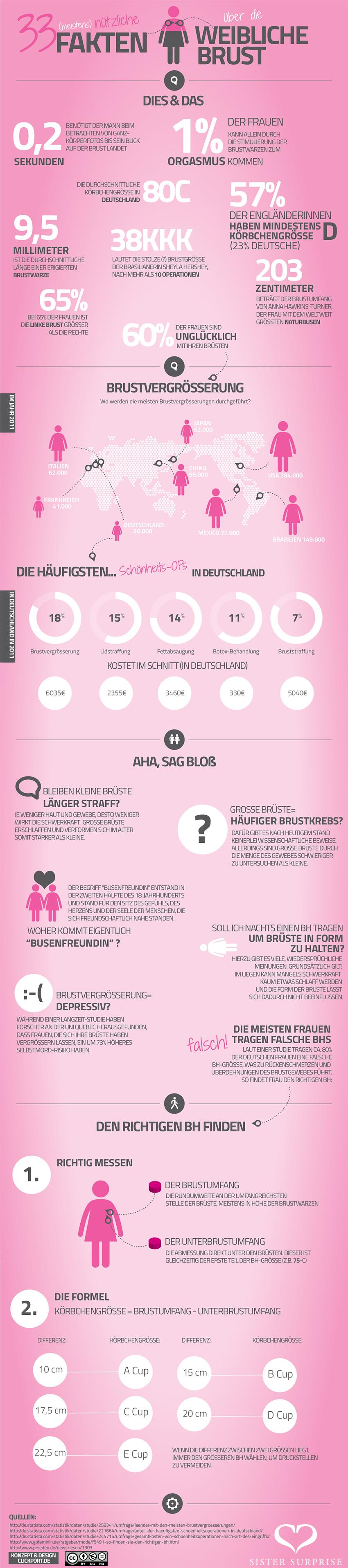 Infografik - 33 (meistens) nützliche Fakten über die weibliche Brust